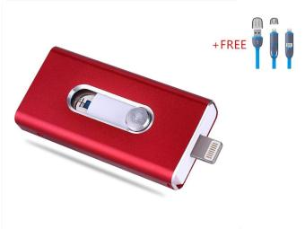 Harga 3 in 1 Flash Drive OTG 512GB phone U Disk For Iphone/Iphone 7/Android +Free 2 in 1 usb cable(red)