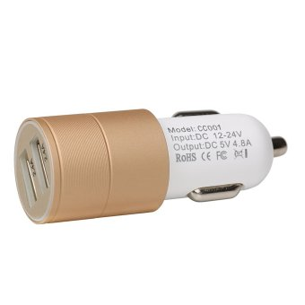 Harga Fast USB Car Charger Adapter (4.8A / 24W), with Dual Smart Ports for Apple Iphone 6s/6s Plus/6/6 Plus/5s/5c/5/4s/4, Ipad, Ipod, Samsung Galaxy S6 Edge/S6/S5/S4/Note 4, and More [Gold] - intl