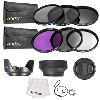 Harga Andoer 62mm Lens Filter Kit UV????(ND2 ND4 ND8) with Carry Pouch / Lens Cap / Lens Cap Holder / Tulip & Rubber Lens Hoods / Cleaning Cloth (EXPORT)