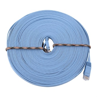 Harga 15meters RJ45 CAT6 Ethernet Network Flat LAN Cable UTP Patch Router Cables 1000M - intl
