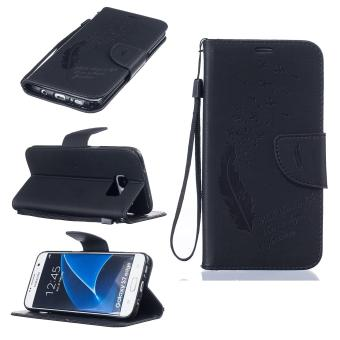 Harga Imprint Feather Pattern Wallet Leather Stand Case for Samsung Galaxy S7 edge SM-G935 - Black - intl