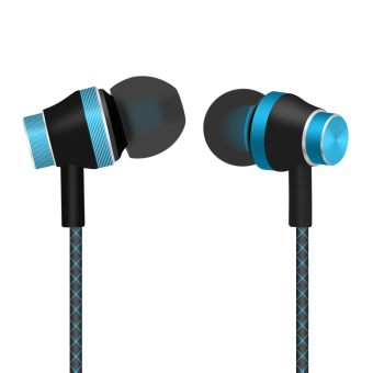 Harga In-ear Headphones Super Bass Stereo Earphone Metal 3.5mm with Microphone Mobile Phone MP3 Fashion headphones(Blue, gold) - intl