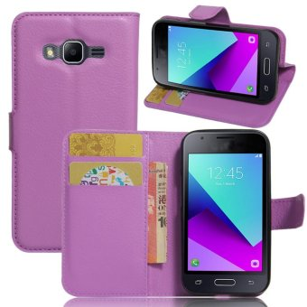 Flip Leather Wallet Cover Case For Samsung Galaxy J1 Mini Prime (Purple) - intl