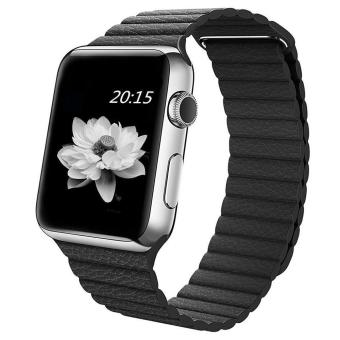 niceEshop 42mm Genuine Leather Loop With Magnet Lock Strap Replacement Band For Apple Watch (Black) - intl