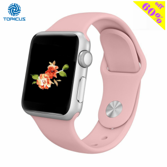 Harga top4cus Silicone Replacement Sport Strap Watch Band for Apple Watch iwatch Series 1 and 2 - 42mm - Small/Medium -Vintage Rose