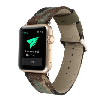 Harga Outdoors Sports Jeans Cloth Genuine Leather Watch Band for Apple Watch iwatch Bracelet Running Strap(42mm Camouflage)