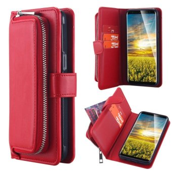 Harga Galaxy S8 Plus Case, Gogerstar Zipper Wallet Case with Card Slots & Cash Storage - PU Leather Flip Case with Detachable Magnetic Hard Case for Samsung Galaxy S8 Plus - intl