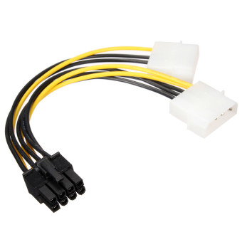 Harga 16cm 5'' 8Pin PCI Express Male To Dual LP4 4Pin Molex IDE  Power Cable Adapter (Black/Yellow) (EXPORT)
