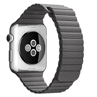 leegoal 42mm Genuine Leather Loop With Magnet Lock Strap Replacement Band For Apple Watch 42mm All Models No Buckle Needed