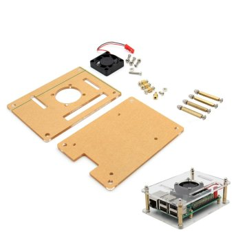Harga V34 Acrylic Case + Cooling Fan for Raspberry Pi 3B/2B/B+ - Transparent