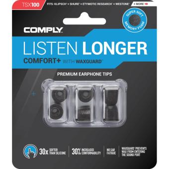 Harga Comply Foam Medium Ear Tips Comfort Plus TSX-100 Black - 3 Pairs/pack