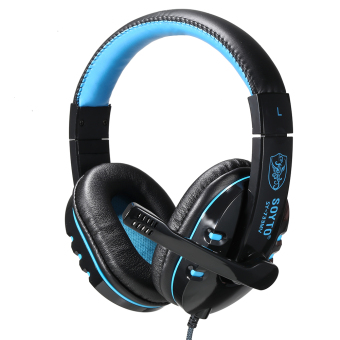 Harga PRO USB Stereo Headphone Microphone with MIC GAME Gaming Headset For PS3 Laptop Blue