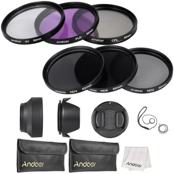 Harga Andoer 52mm Lens Filter Kit UV????(ND2 ND4 ND8) with Carry Pouch / Lens Cap / Lens Cap Holder / Tulip & Rubber Lens Hoods / Cleaning Cloth (EXPORT)
