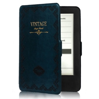Harga Mosiso Classic Retro Book Style Smart Cover for kindle voyage/Kv Slim-Fit Cover (Blue)