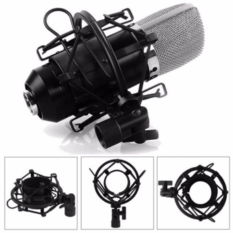 Harga Universal Anti Vibration Suspension Microphone Shock Mount Clip Holder For Large Condenser Microphone(Black) - intl