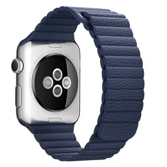 42MM Magnetic Leather Loop Watch Band For Apple Watch Adjustable Wrist Strap With Adapters(Blue)