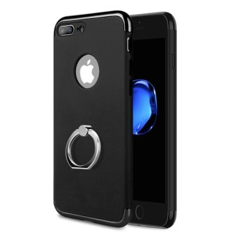 Harga NORTHJO 3 In 1 Slim Hard Cover Case Coated Non Slip Matte Surface Electroplate Frame with Metal Ring Buckle Bracket for Apple iPhone 7 Plus - Black - intl