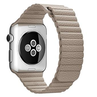 leegoal 42mm Genuine Leather Loop With Magnet Lock Strap Replacement Band For Apple Watch 42mm All Models No Buckle Needed - intl