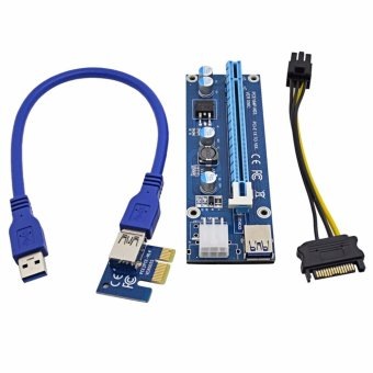 Harga 2017 VER006C 1x to 16x PCI Express Riser Card PCI-E Extender 60cm USB 3.0 Cable SATA to 6Pin IDE Power for BTC Miner - intl