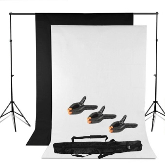 Harga QF Adjustable Heavy duty Backdrop Support Stand Kit - 3m x 1.6m Black White Backdrop screen + Background Support System + backdrop clamps + Carry bag- Photo Studio Photography Set- Photo Studio Background Stand Support Kit - intl