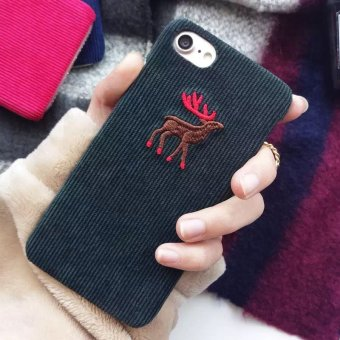 Harga South korea shopping corduroy animal iphone6s plus couple phone shell mobile phone shell protective sleeve plush elk 7 hard shell