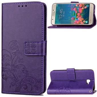 J7 Prime Case, Galaxy J7 Prime Case, Lucky Clover PU Leather Flip Magnet Wallet Stand Card Slots Case Cover for Samsung Galaxy J7 Prime (Purple) - intl