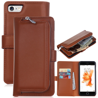 Harga Zipper Leather Handbag Wallet Folding Flip Cover Phone Case for iPhone 6plus /6s plus(Brown) - intl