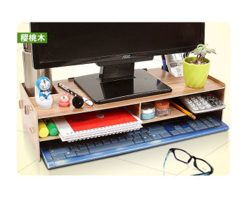 Harga Wooden LCD/LED Monitor Stand Laptop Stand (Cherrywood Brown)