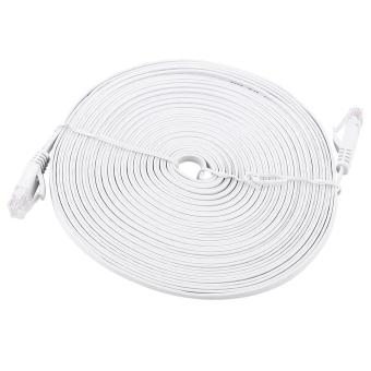 Harga RJ45 CAT6 Ethernet Network Flat LAN Cable UTP Patch Router Cables 1000M (White 10meters) - intl