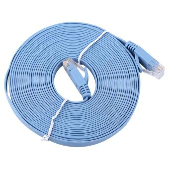 Harga RJ45 CAT6 Ethernet Network Flat LAN Cable UTP Patch Router Cables 1000M (Blue 5meters) - intl