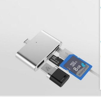 Harga USB 3.1 Type C OTG HUB Adapter Card Reader for SD/ TF Micro SD for PC and Cellphones (Silver) - intl