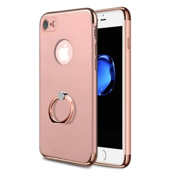 Harga NORTHJO 3 In 1 Slim Hard Cover Case Coated Non Slip Matte Surface Electroplate Frame with Metal Ring Buckle Bracket for Apple iPhone 7 - Rose Gold - intl