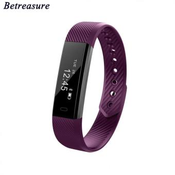 Harga Bluetooth 4.0 Smart Bracelet Fitness Tracker Step Counter Fitness Watch Band Alarm Clock Vibration Wristband Pk Fitbit Miband 2(Purple) - intl