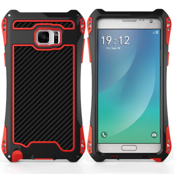 Harga R-just AMIRA Powerful Metal Aluminum Dropproof Carbon Fiber Case For Samsung Note 5(black+red)