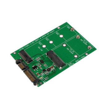 2 in 1 Mini PCI-E 2 Lane M.2 And mSATA SSD To SATA III 7+15 Pin Adapter Green