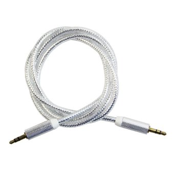 Harga Colorful 3.5mm AUX Stereo Audio Cable M/M Line-In / Aux Wire Male to Male Cord (Silver)