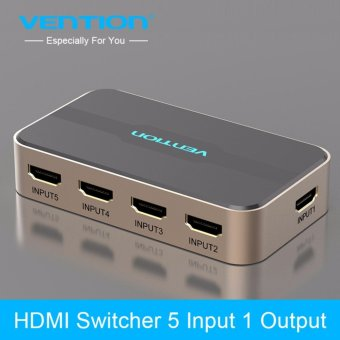 Harga Vention Video HDMI Switch Switcher 5 in 1 out with IR Wireless Remote HDMI Splitter box Switcher for PS3/4 Xbox PC HDTV 1080P - intl