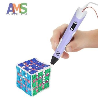 Harga AMS Hot 3d printer Pen with Screen 3D Drawing Pen for 3D Painting for Birthday and Christmas Gift 3D pen RP-100B with PLA Filament - intl