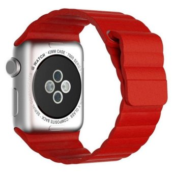 Apple Watch Band Genuine Leather Loop with Magnet Lock Strap Replacement Band for Apple Watch 42mm All Models No Buckle Needed (Leather Loop - Red)