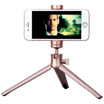 Harga MOMAX Tripod Pro Rotary Tripod + Phone Holder for Smartphones / DSLR Camera - Rose Gold - intl