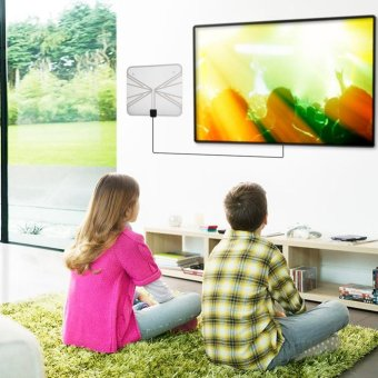 Harga Ultra-Thin 50 Miles Digital TV HDTV Antenna with 16ft Cable (US Plug) - intl