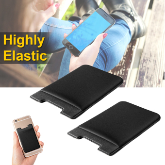 2pcs Elastic Lycra Cell Phone Wallet Credit ID Card Holder Pocket Stick On AC418