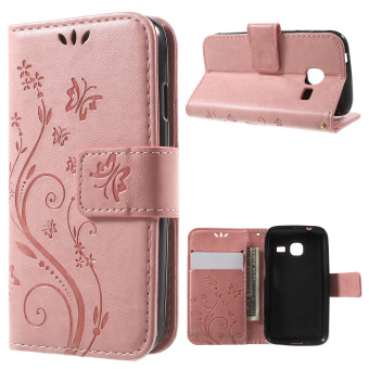 Butterfly Series Wallet Leather Folio Case for Samsung Galaxy J1 mini (Pink) - intl