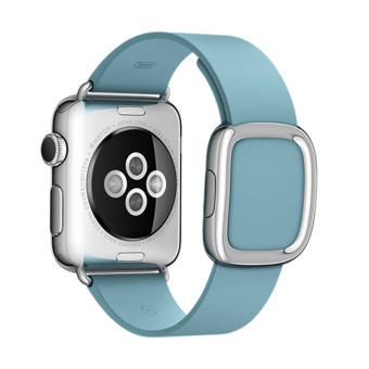 Modern Buckle Magnetic Soft Genuine Leather Watch Band Strap for Apple Watch 42mm(Blue)