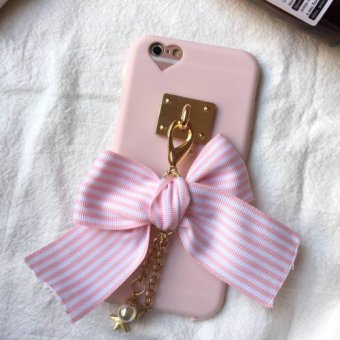 Love pink bow hole handmade iPhone6/s creative mobile phone shell apple 6/6splus silicone case