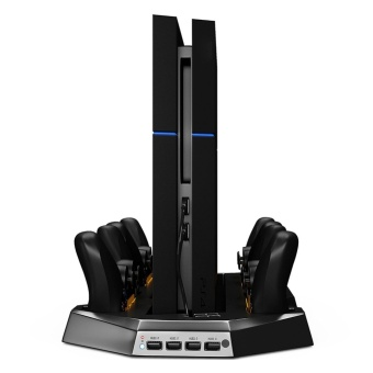 Vertical Stand Dual Cooler Fans For PS4 Playstation 4 Console &four Charging Stations for DualShock4 PS4 Controllers - intl