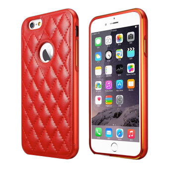 Harga Luxury Metal Frame + PU Leather Back Case Cover for Apple Iphone 6 6S (Red) - intl