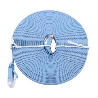 Harga RJ45 CAT6 Ethernet Network Flat LAN Cable UTP Patch Router Cables 1000M (Blue 8meters) - intl