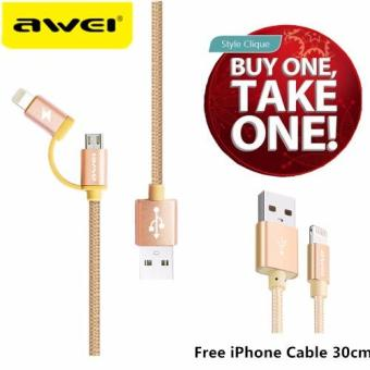 Awei CL-930 2-in-1 fast charging 1m Braided Nylon cables for iPhone and Samsung Android with Free iPhone cable 30cm