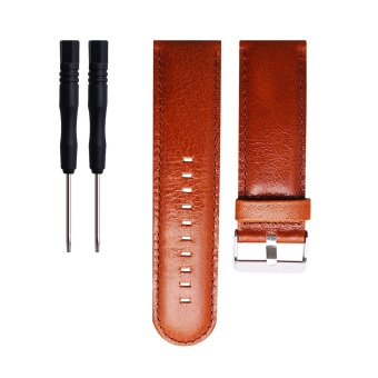 Leather Wrist Watchband Strap for Garmin D2 Fenix Fenix2 Fenix3/HR Quatix Quatix3 Tactix GPS watch in Brown - intl